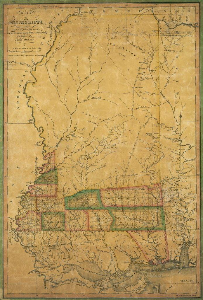 1820 Melish Map of Mississippi