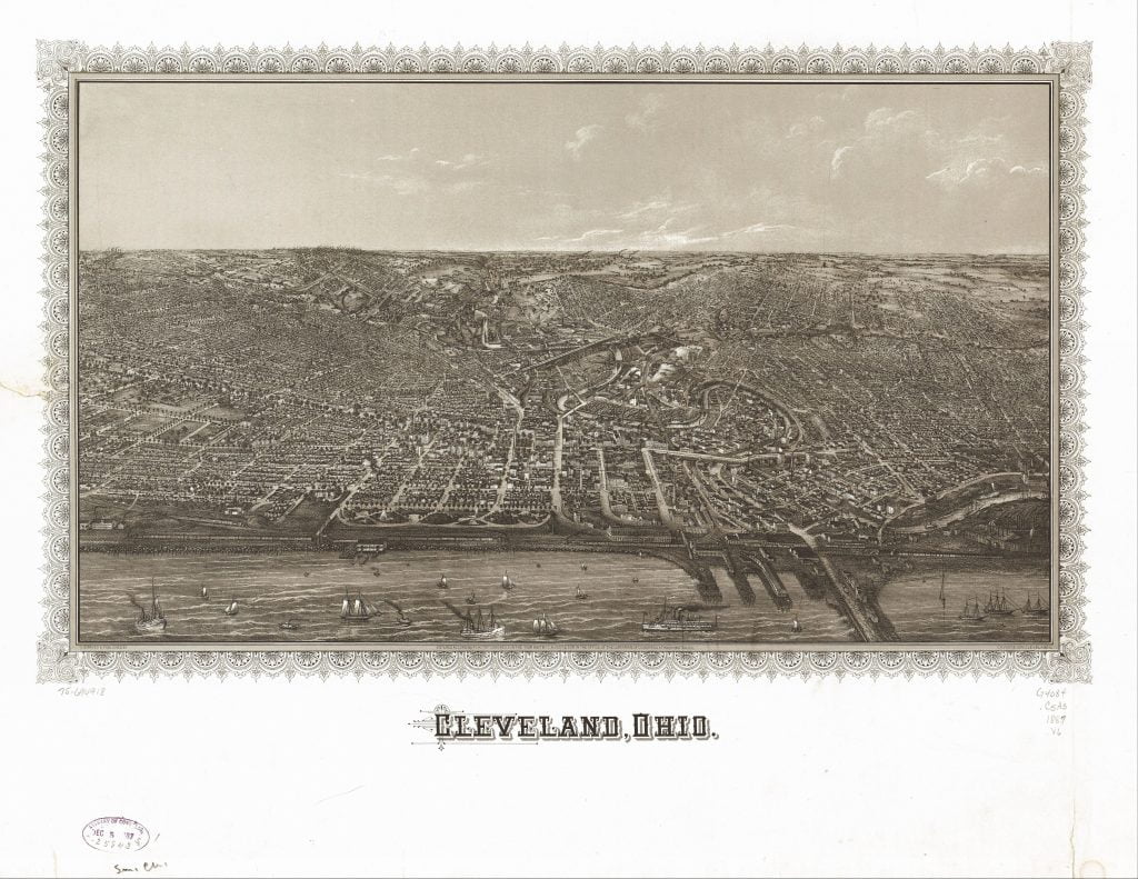 Birds Eye View of Cleveland in 1887