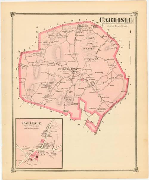 Carlisle Massachusetts Map of 1875