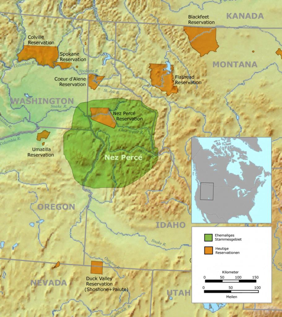 Nez Perce Tribal Territory Map
