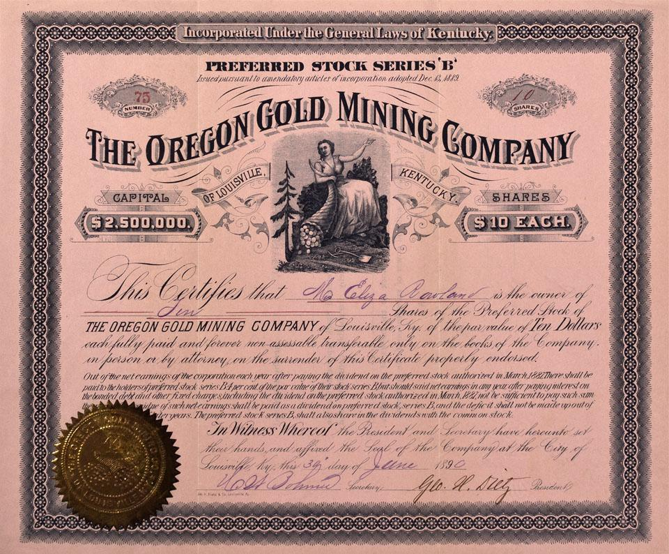 Oregon Gold Mining Stock Certificate