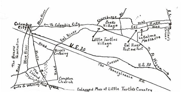 Enlarged Map of Little Turtle's Country