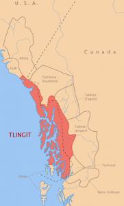Map of Tlingit-speakers and neighboring peoples