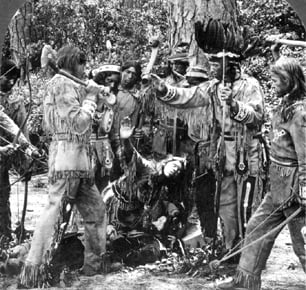 1910 photo of Pamunkey Indians re-enacting the story of Pocahontas.