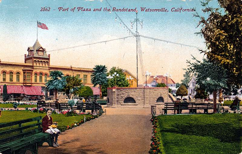 Part of Plaza and the Bandstand, Watsonville, California