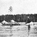 Ojibway birch bark canoe. Northern Minnesota, 1899.