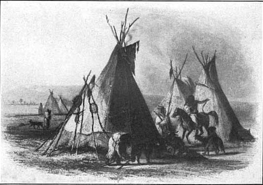 A skin lodge of an Assiniboin chief - Karl Bodmer