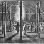 Dog dance within a Kansa lodge, August 23, 1819. Samuel Seymour