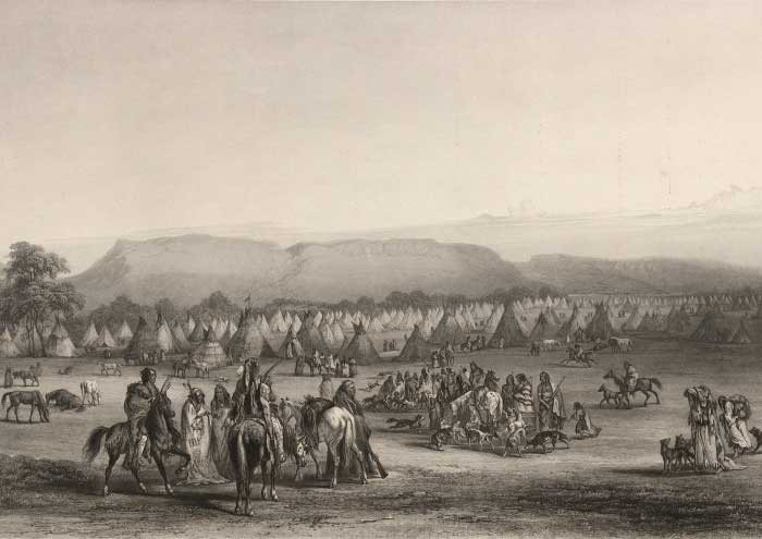 """Encampment of the Piekann Indians"" Karl Bodmer 1833"