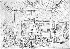 Interior of a Mandan lodge - George Catlin