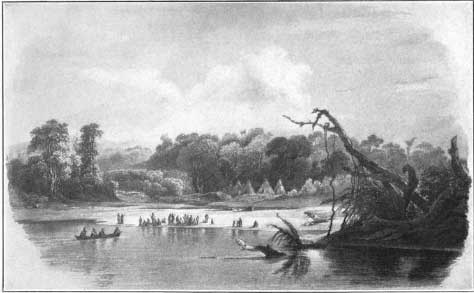 Punka Indians encamped on the banks of the Missouri - Karl Bodmer 1833