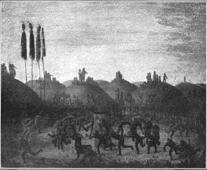 Scene in a Mandan Village - George Catlin