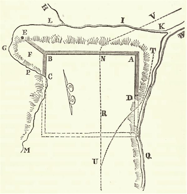 Sketch of the Ancient entrenchments on Fort Hill, near Le Roy, Genesee County