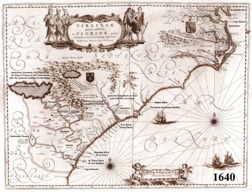 1640 Official French Royal Map – Virginiae et Floridae
