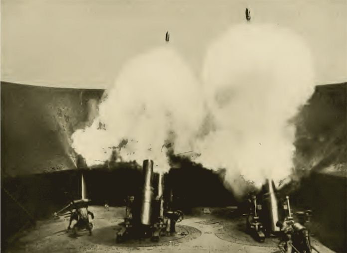 Showing Shells leaving motors, Fort Monroe, Virginia