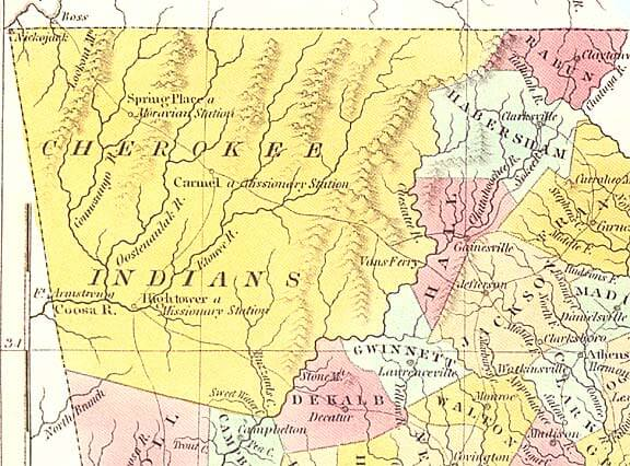 1830 Map of Cherokee Territory in Georgia