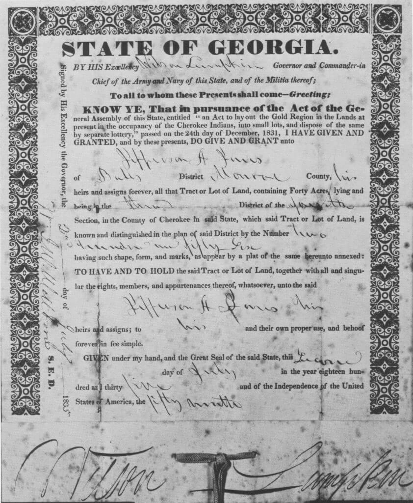 1832 Georgia Land Lottery Deed