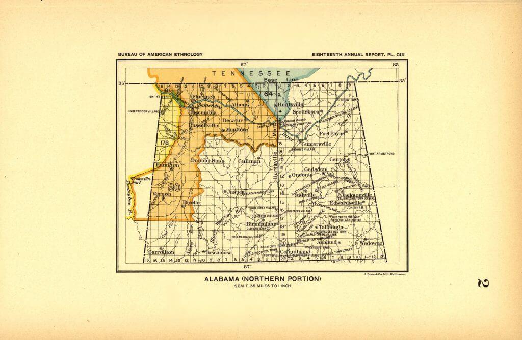 Northern Alabama Land Cessions Map