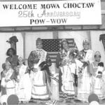 A melding of traditional and contemporary culture, the MOWA Choctaw pow-wow has taken place the third weekend in June for the past twenty-six years. Traditional dress and dance regalia are featured in the three-day event, which draws an average attendance of 3,500. Men, women, and children perform ritualistic dances and compete for titles of honor in the annual pow-wow pageant. Pictured left to right are Kearah Gale Chestang, Tiny Tot; Adreinne Reed, Little Miss Princess, Washington County; Brittaney Johnston, Senior Princess; Viola Campbell, Tribal Mother; Whitney Danielle Reed, Junior Princess; Jolene Weaver, Little Miss Princess, Mobile County.