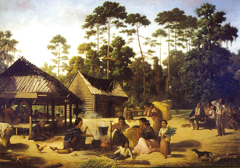 Choctaw Village near the Chefuncte, The women appear to be making dye to color the strips of cane beside them, by François Bernard, 1869