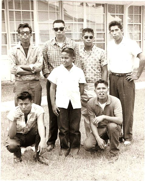 Group of Mississippi Choctaw males in the late 50s or early 60s. Photograph by Bob Ferguson. Copyright by Bob Ferguson. Used with Permission.