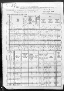 1894 Thornapple Barry County Michigan Sample Census Image