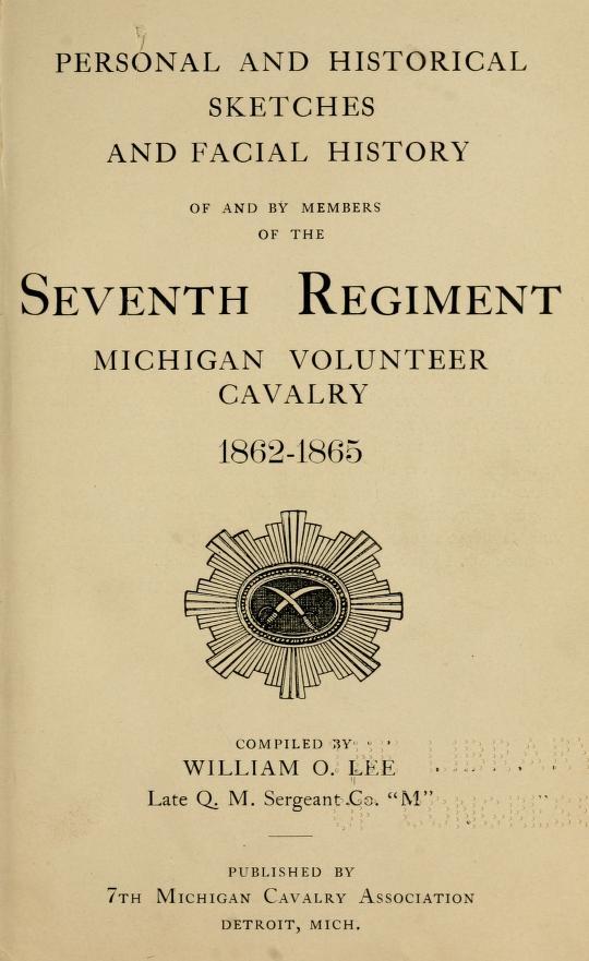Seventh Regiment Michigan Volunteer Cavalry - title page