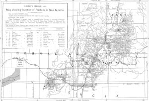 Map Showing Location of Pueblos in New Mexico