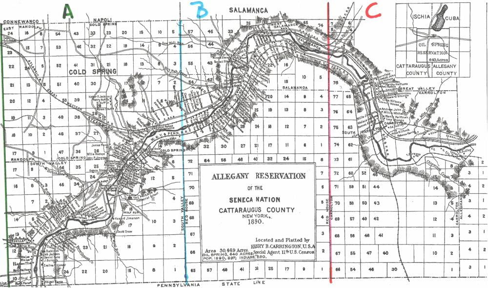 Map Of New York Indian Reservations.Allegany Reservation Map And Occupants 1890 Access Genealogy
