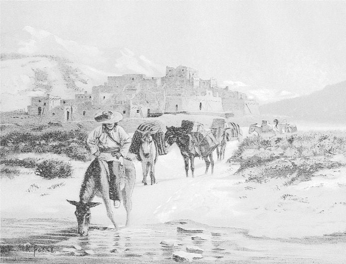 Pack Train Leaving Pueblo Of Taos, New Mexico