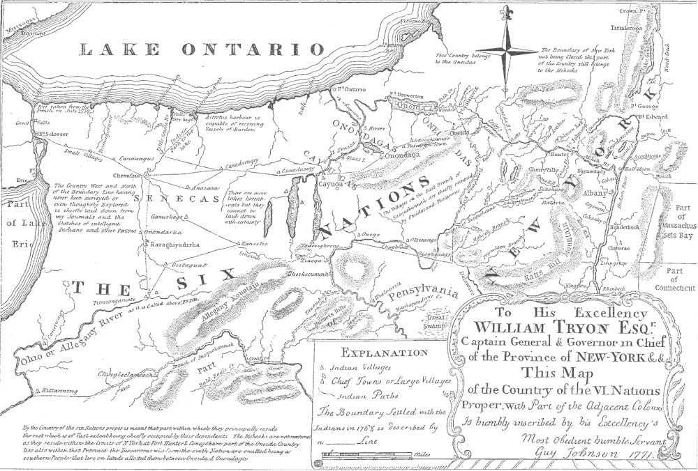 Map Of New York Indian Reservations.Reservations Of The Six Nations In New York And Pennsylvania 1723