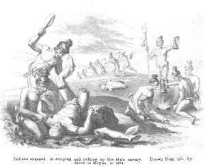 Indians engaged in scalping and cutting up the slain enemy