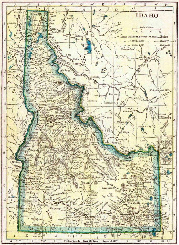 1910 Idaho Census Map
