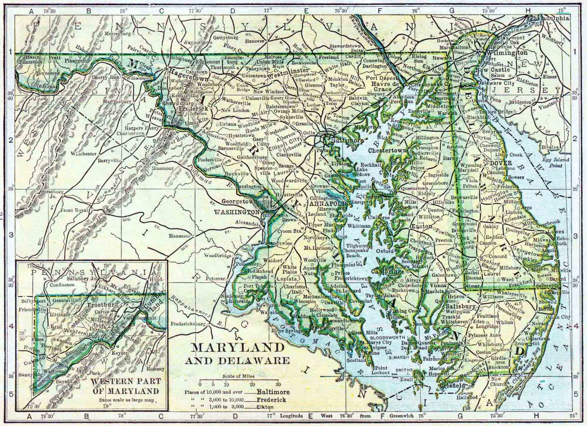 1910 Delaware and Maryland Census Map | Access Genealogy