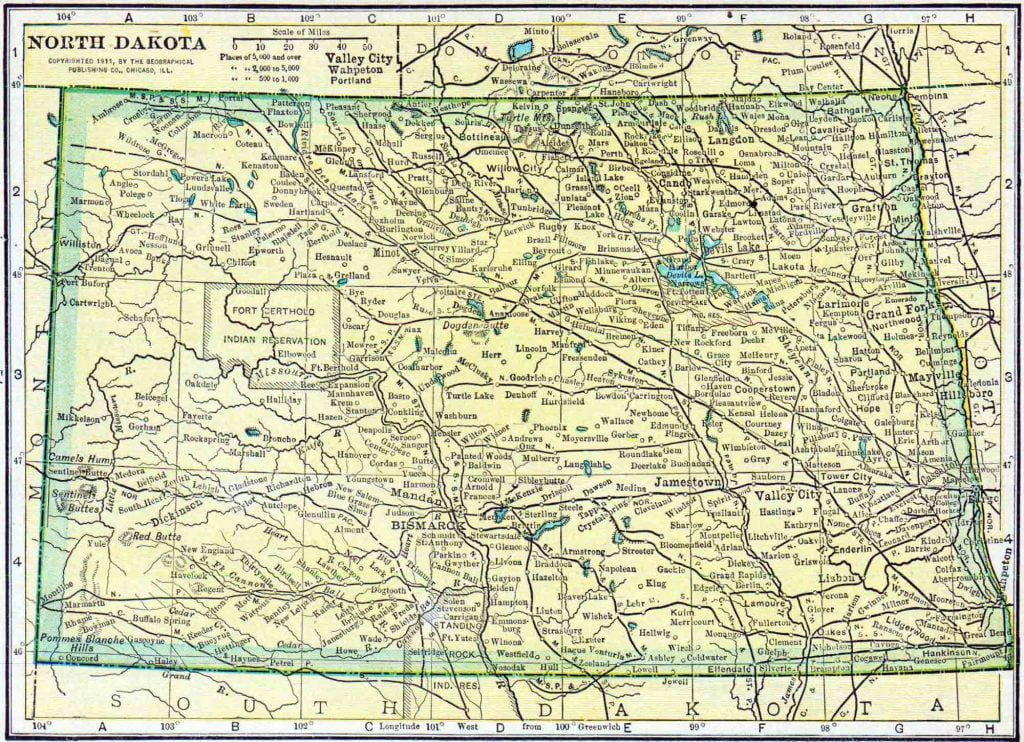 1910 North Dakota Census Map