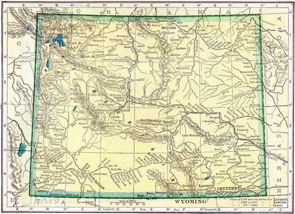 1910 Wyoming Census Map