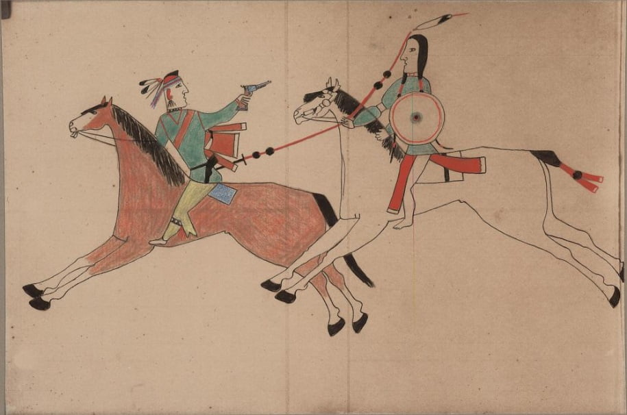 Ledger drawing - Cheyenne and Pawnee or Osage fight