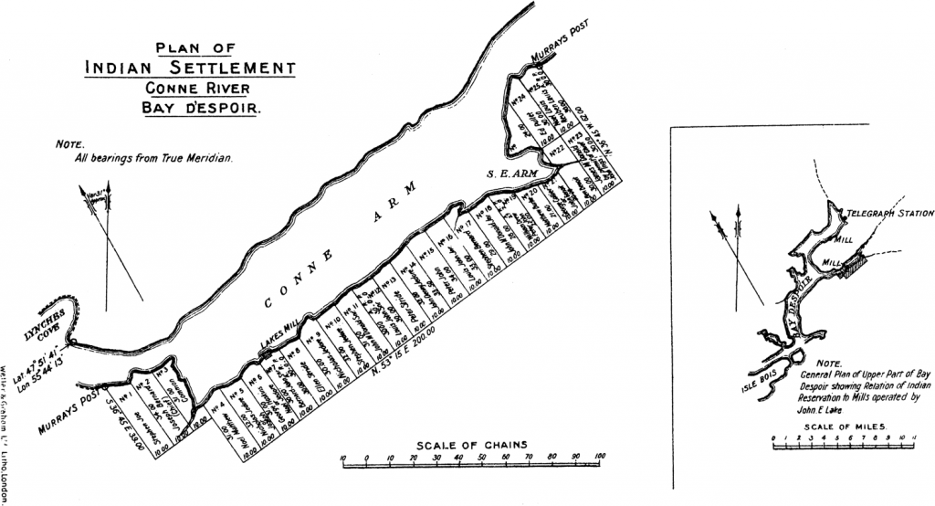 Plan of Indian Settlement Conne River Bay Despoir