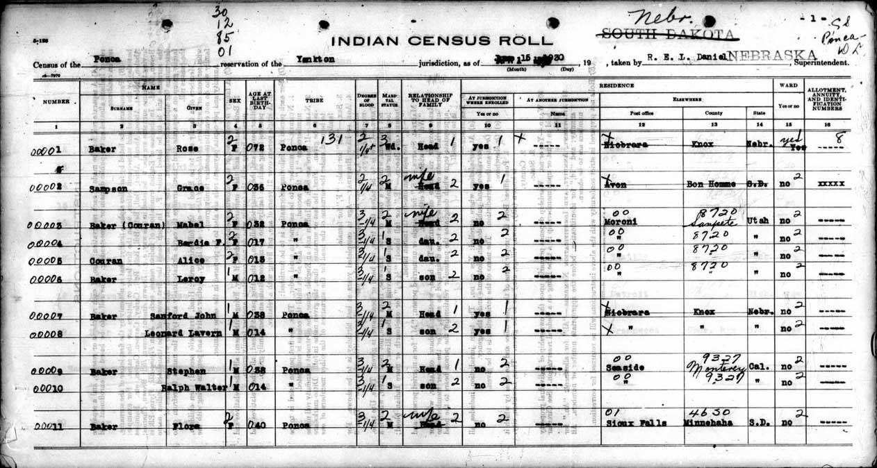 Free US Indian Census Rolls 1885-1940 | Access Genealogy