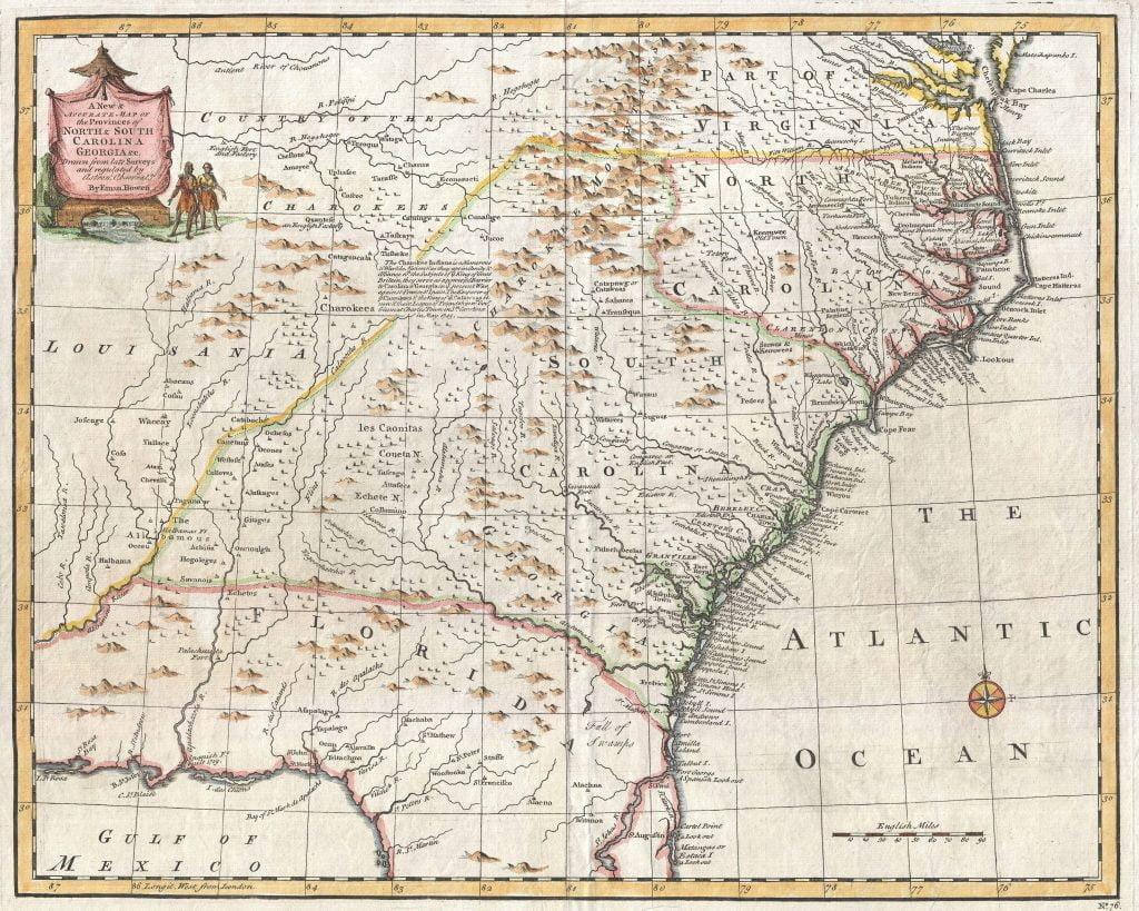 1747 Bowen Map of the Southeast