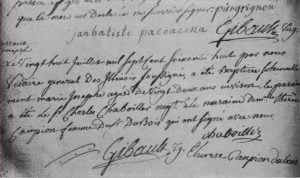 Entry in Mackinac Registry 28 July 1768