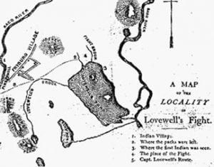 Map of Lovewell's Fight near Fryeburg Maine