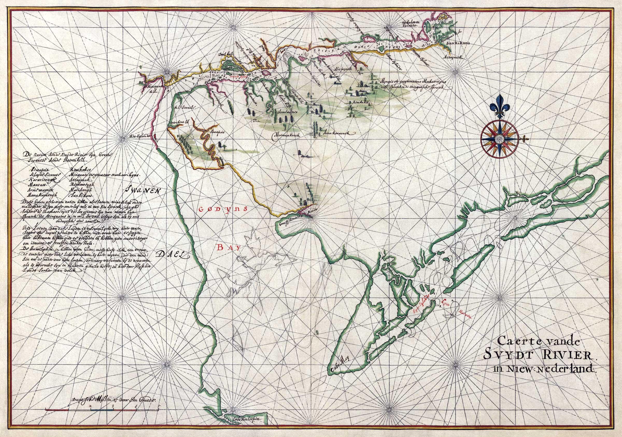 Vinckeboons Map of Delaware Bay and Zwaanendael