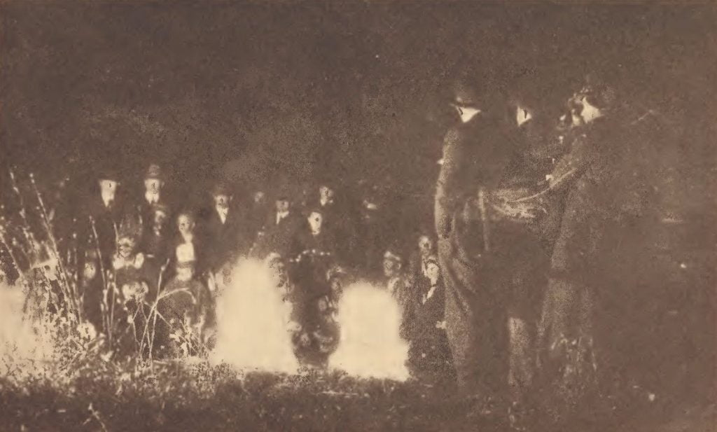 Christmas Indian dance in the woods on the Pamunkey reservation in 1921