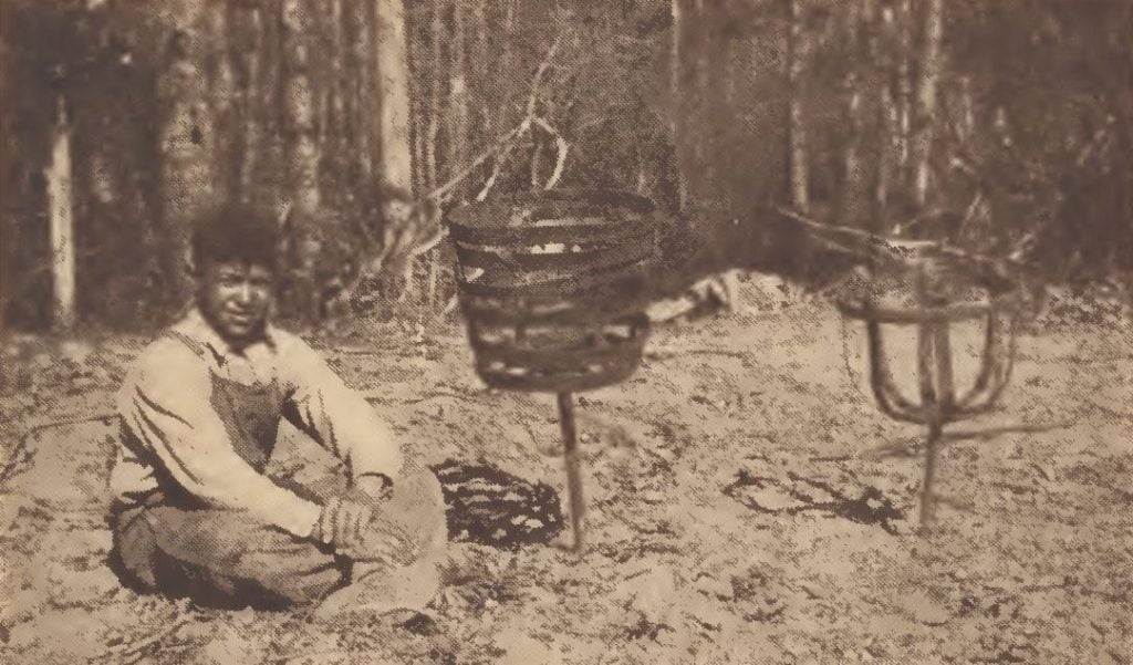 "Chickahominy boy with ""sora horses"" of iron"