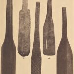 Wooden stirring paddles; e. Wooden paddle used in pottery making. Pamunkey.