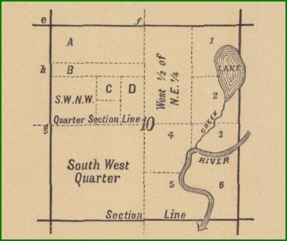 Example of a Quarter Section in a Plat Map