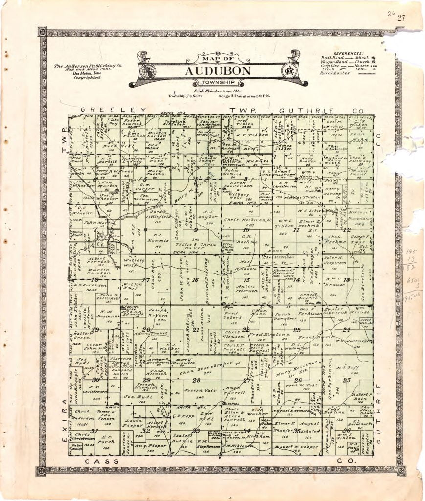 1921 Farm Map of Audubon Township, Audubon County, Iowa