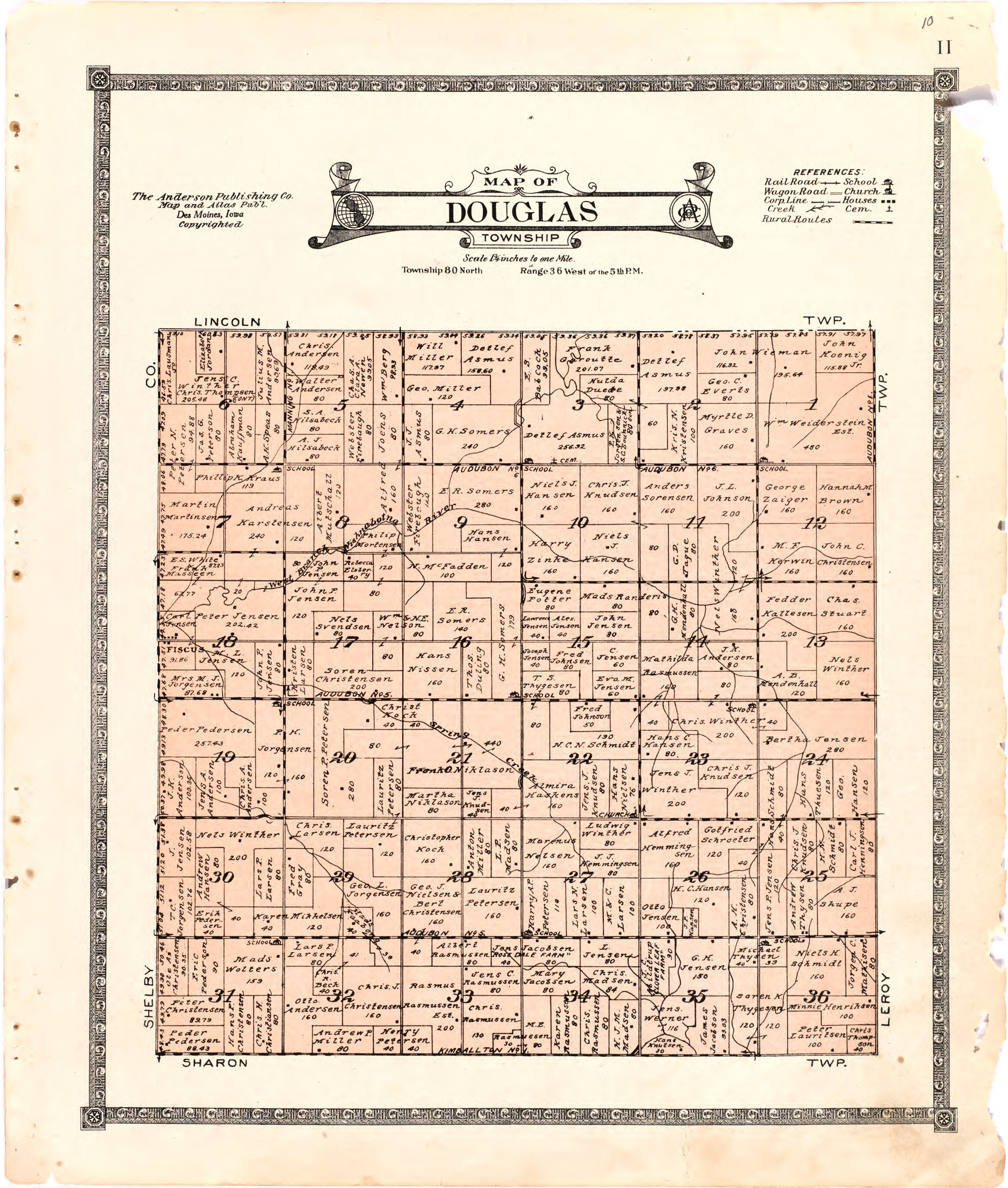 1921 Farm Map of Douglas Township, Audubon County, Iowa