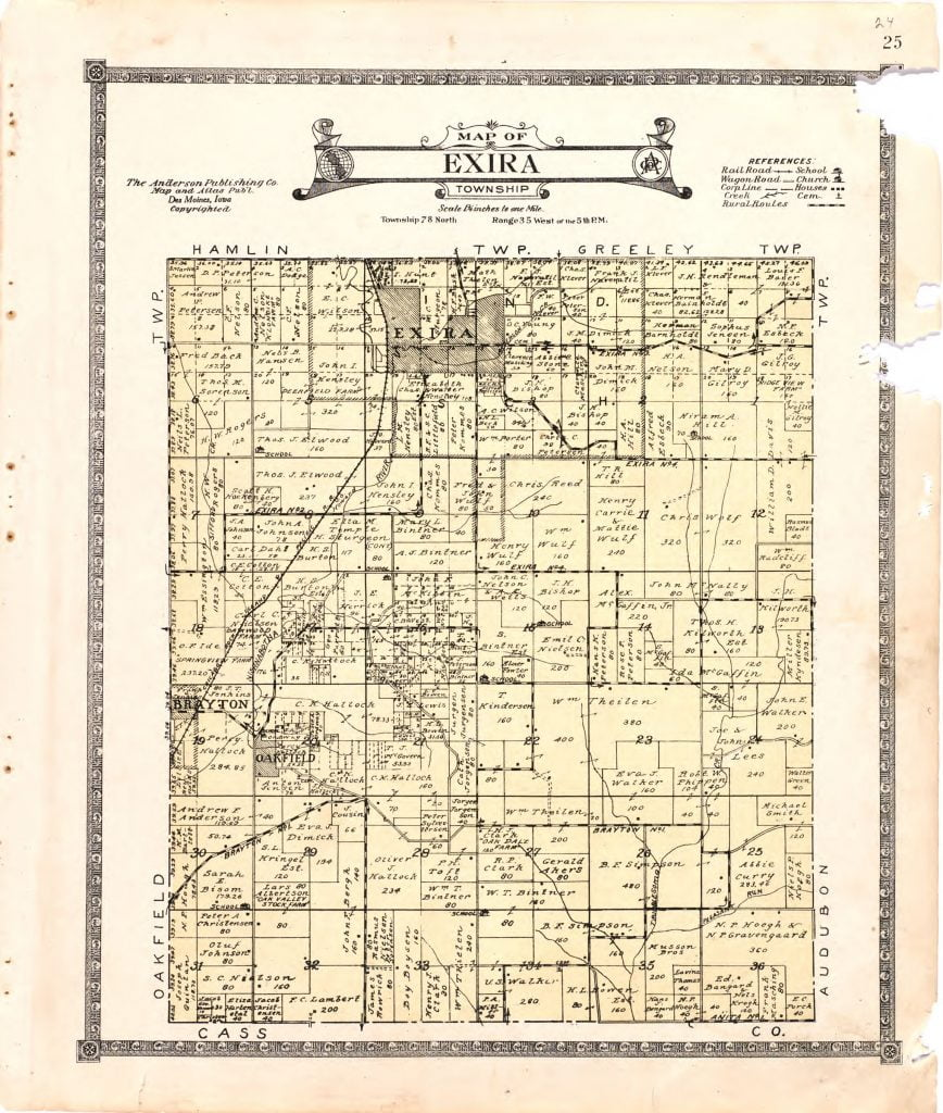 Lincoln County Divorce Records: 1921 Farmers' Directory Of Exira Iowa